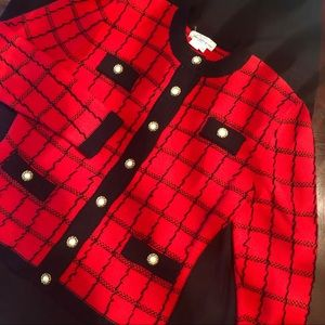 Sweaters - SAKS RED AND BLACK PEARL BUTTON SWEATER/JACKET